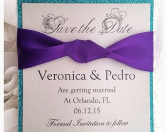 Gold and Purple Save the Date Card