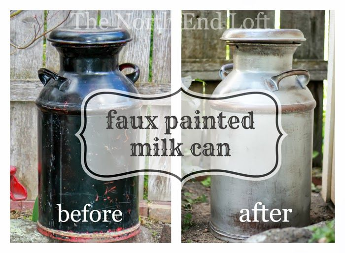 Painted Milk Cans   ... the following email about this old milk can I faux painted last year