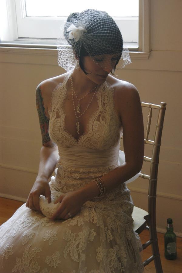 White lace halter neck wedding dress