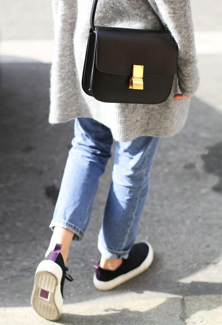 oversized knit / boyfriend jeans / sneakers / celine bag