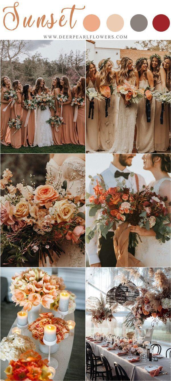 sunset orange fall wedding color ideas weddings