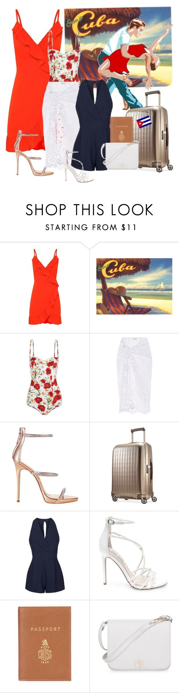 """Pack and go to Cuba !"" by joyfulmum ❤ liked on Polyvore featuring Salsa, Dolce&Gabbana, Miguelina, Giuseppe Zanotti, Hartmann, Topshop, Steve Madden, Mark Cross and Furla"