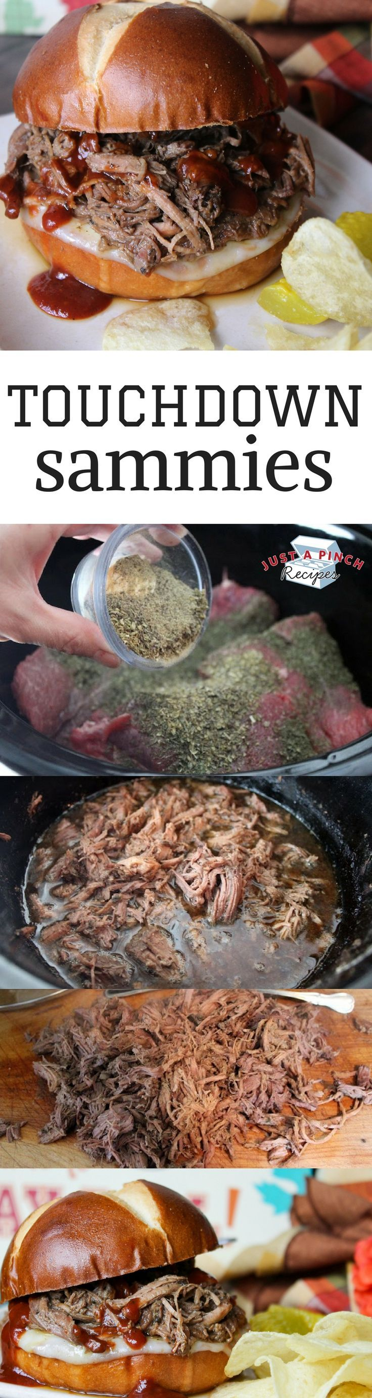 This pulled beef sandwich recipe is so simple and tasty and lets you enjoy the game instead of being chained to the kitchen. Super easy and tasty crock pot recipe!