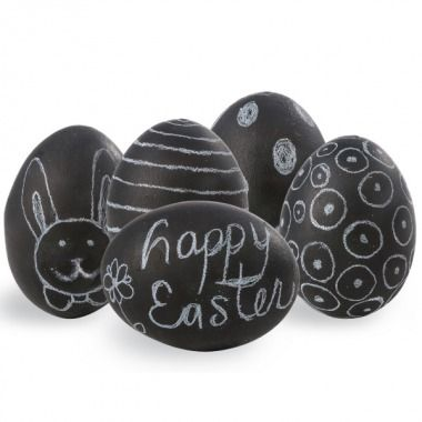 Use two coats of chalkboard paint to create eggs you can draw on with chalk or colored pencils!