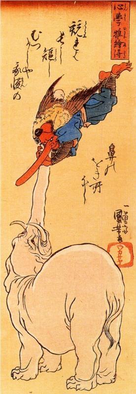 Utagawa Kuniyoshi: Elephant catching a flying tengu