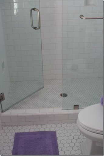 subway tile shower with white hexagon floor 24296