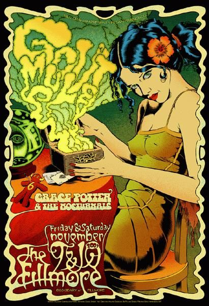 "Original concert poster for Gov't Mule / Grace Potter at the Fillmore in San Francisco, CA. 13""x19"" on card stock. Art by Chuck Sperry."