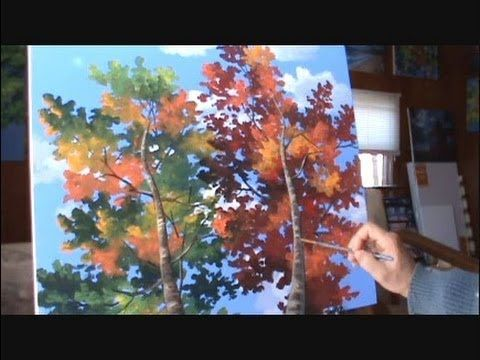 """How To Paint Trees Full Slow Video """"Apple Barrel"""" Acrylics Canvas Lesson Art Class"""