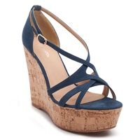 High heel multistrap cork platforms in blue colour with suede texture.