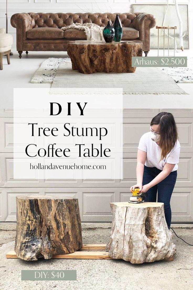 DIY Tree Stump Coffee Tables: One Room Challenge Week 2
