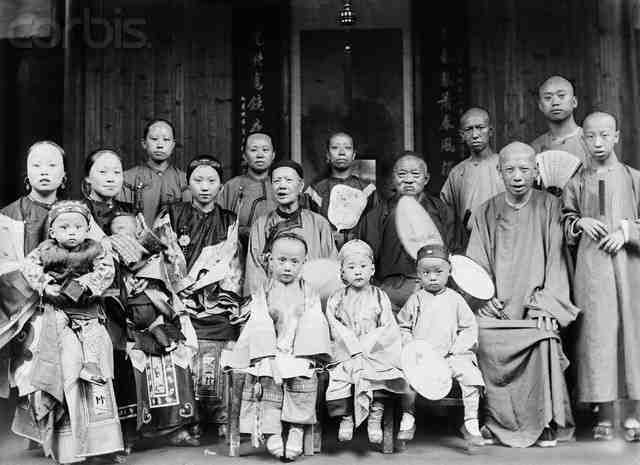 Chinese extended families lived together in the same home. Tradition stated the ideal situation was for five generations to live together in the same home. A household normally included the male head of the household, his wife, his sons and their wives and children. Poor families have to pay a bride price, which is the sum of money paid by the groom's family to the bride's family. When the male head of the family died, his sons divided the house equally to each other.