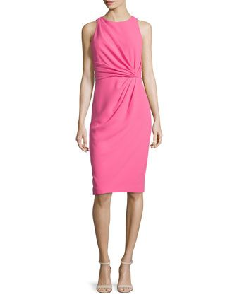 Sleeveless+Pleated-Front+Sheath+Dress,+Hot+Pink++by+Badgley+Mischka+at+Neiman+Marcus.