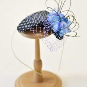 blue and white polka dot cotton fabric in a heart shaped base, decorated with blue fabric flowers, violet veil and details of peacock feathers. - See more at: http://www.whereisthecat.gr/products/headpieces/black-white-headpiece-heart-shaped-mounted-on-headband/#sthash.3IJ7sIH4.dpuf