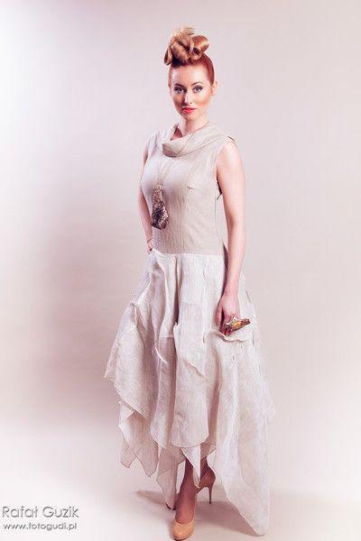 lniana beżowa sukienka - Estera-Grabarczyk - Sukienki ekologiczne