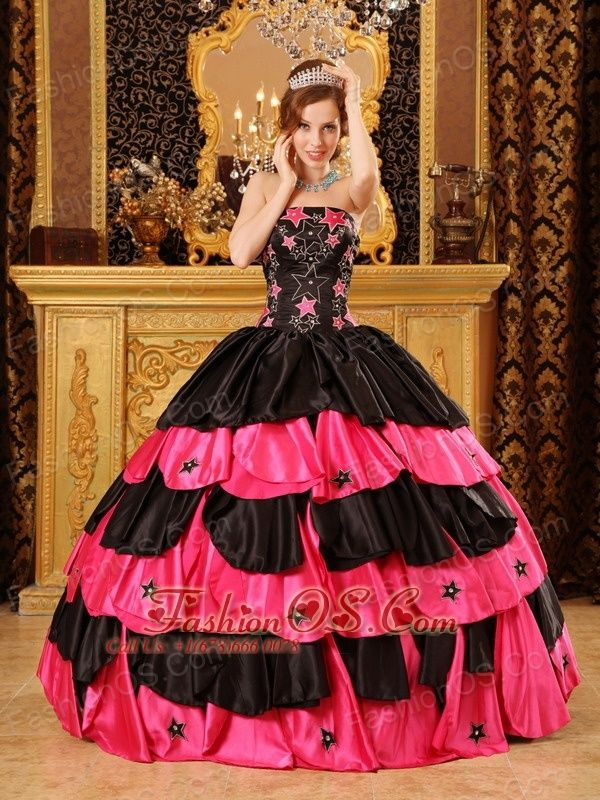 Inexpensive Black and Hot Pink Quinceanera Dress Strapless Taffeta Beading Ball Gown- $237.13