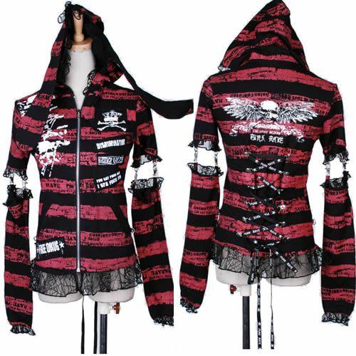 Women Red Black Stripe Skull Gothic Punk Emo Arm Warmers Hoodies Jacket SKU-11401460