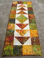 """Hand Made Quilted Table Runner ~ Hand Dyed Batiks ~ 16"""" x 39"""" ~ Multi"""