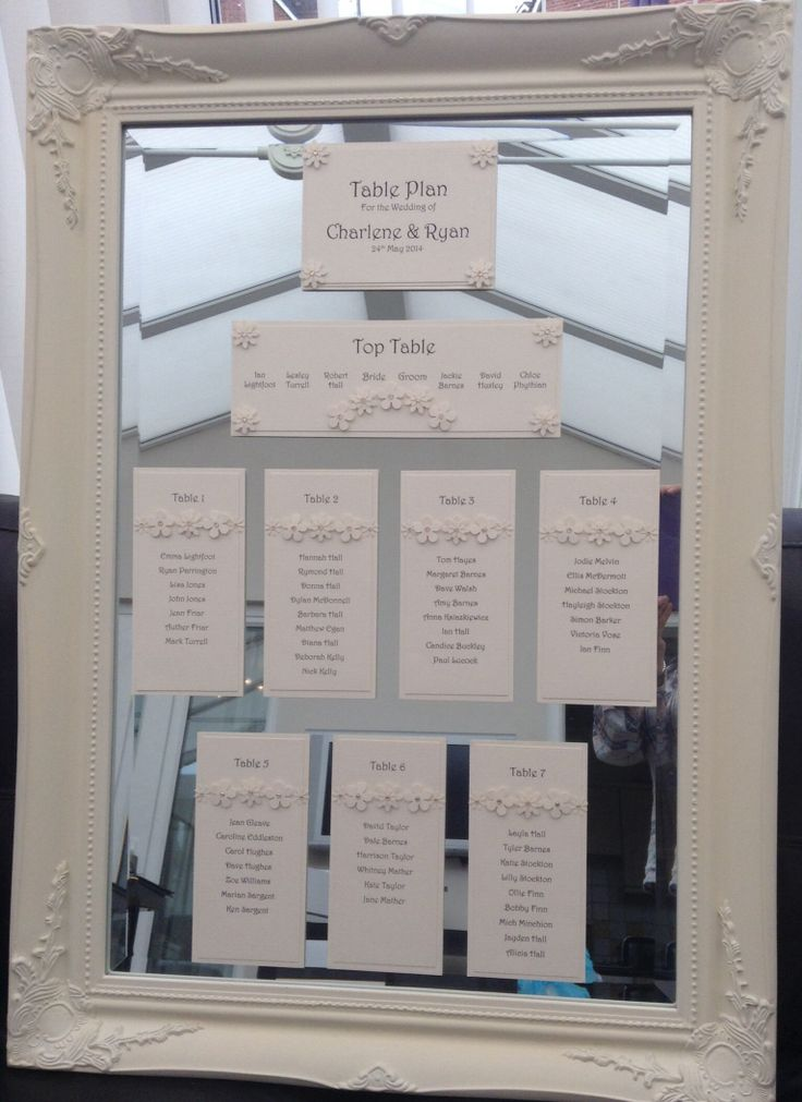 Elegant Table Plan on an ivory ornate mirror from www.lollipopsandroses.co.uk