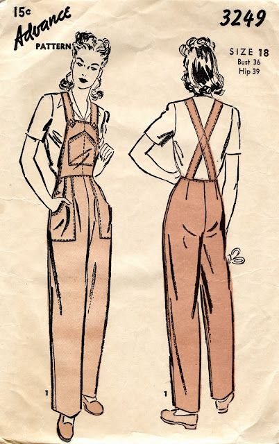 Advance pattern - 1940's overalls. issued 1943, wartime fashion, 1940s fashion