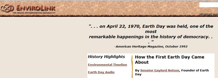 """This is an image from this resource on the Internet4Classrooms' """"Earth Day at Internet 4 Classrooms"""" resource page:    How the First Earth Day Came About.    """"By Senator Gaylord Nelson, Founder of Earth Day    What was the purpose of Earth Day? How did it start? These are the questions I am most frequently asked."""""""