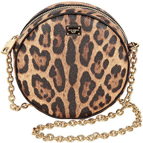 Dolce & Gabbana Brown & Black Leopard Print Round Leather Shoulder Bag ($560) found on Polyvore