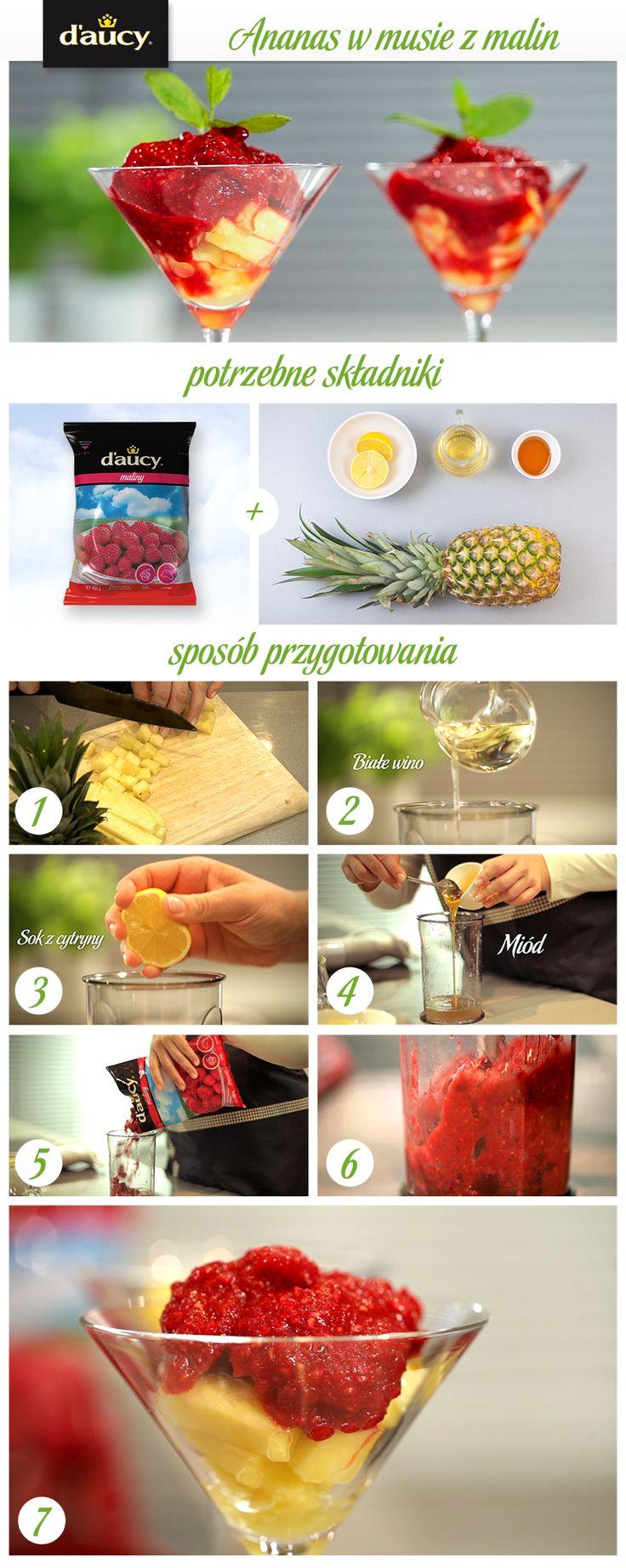 Ananas w musie z malin z dodatkiem białego wina.  http://www.daucyinspiruje.pl/przepis/ananas-w-musie-z-malin/