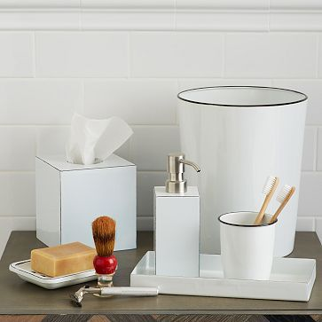 Basic enough to look great in almost any bathroom with clean white bodies and exposed metal edges these enamel bath accessories bring clean lined style to
