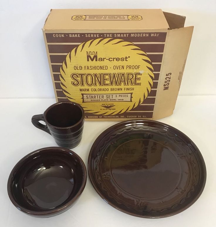 Vtg Mar-crest 3-Piece Starter Set Brown Stoneware Plate Bowl Mug Daisy Dot Box #Marcrest