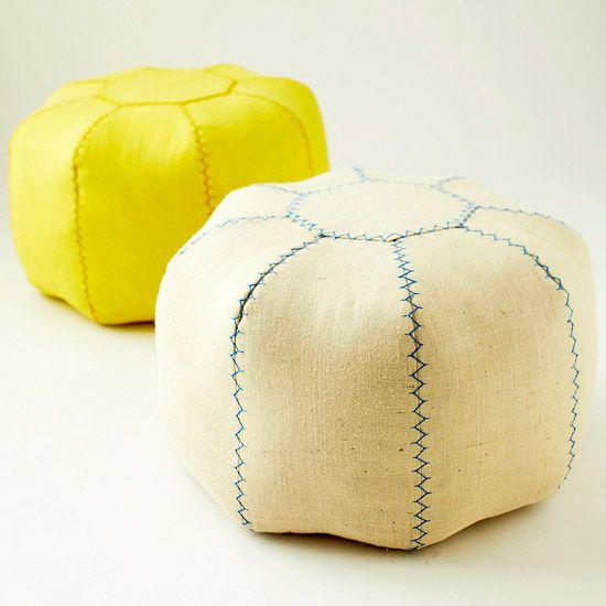DIY pouf instructions - Need about $50 worth of materials and time. Pattern available on the linked website.