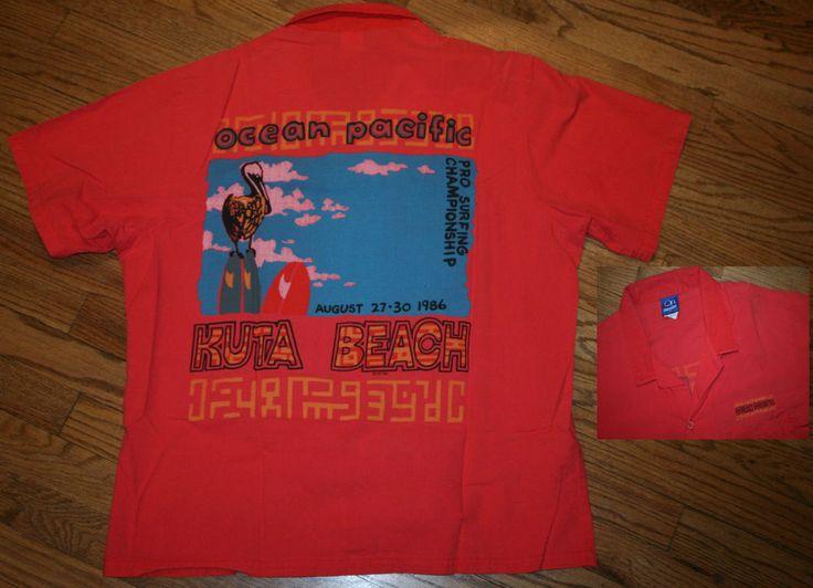 Vtg Ocean Pacific 1986 Pro Surfing Championship Shirt Kuta Beach, Year of RIOT ! #OceanPacific #Hawaiian