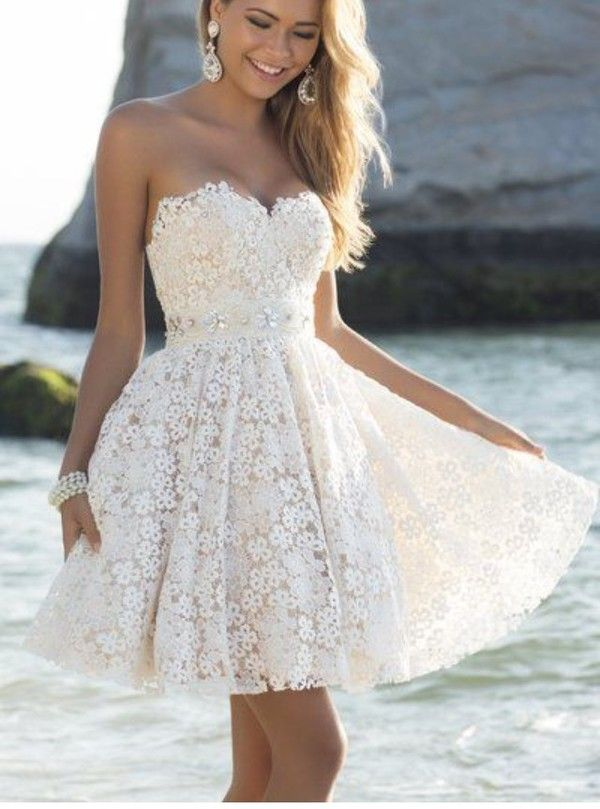 Aliexpress.com : Buy Cute Dresses For 8th Grade Graduation Sweetheart Dress For Party Short Beaded Sash A_line Homecoming Dress Lace Graduation Dress from ...