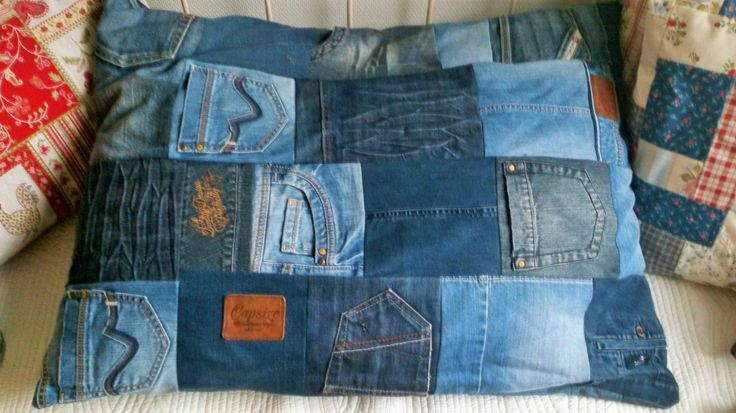 homemade cushion of denim