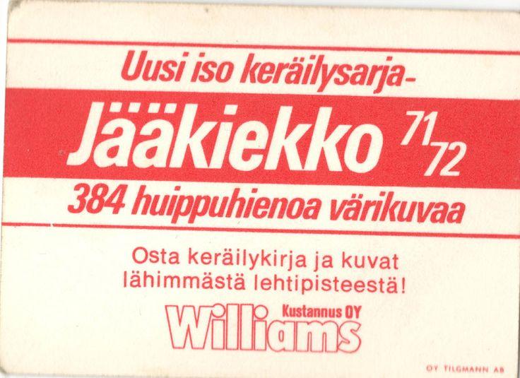 Jääkiekko 71-72 -keräilysarja - kortin kääntöpuoli