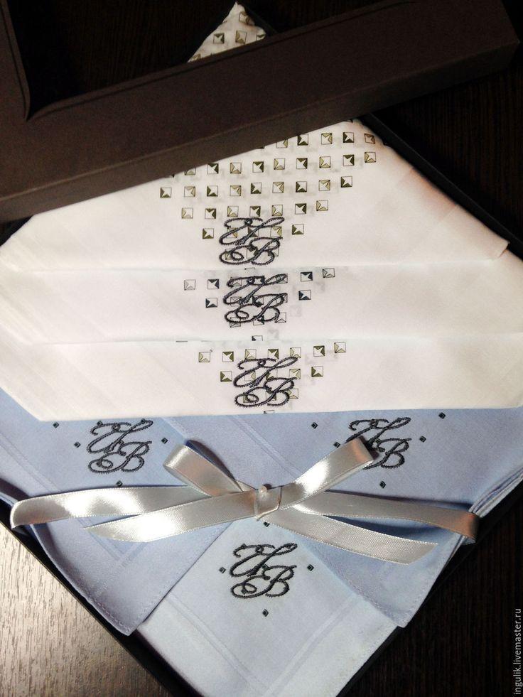 Купить Комплект Светлый Носовые платки мужские Хлопок с вышивкой Монограмма - вышивка, вышивка на одежде