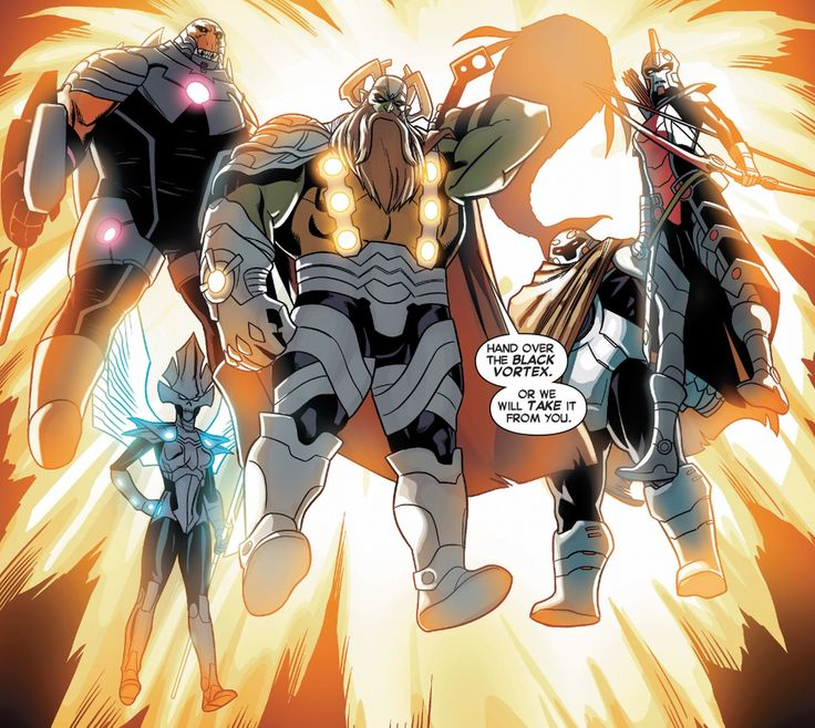 Formed by a Badoon, an exiled Centaurian, a Shi'ar hunter, a Skrull, a Snark and a priest from Planet X, the Slaughter Squad was a group of brigands and thieves gathered by Mister Knife to serve as his personal crew. They've recently invaded Kymellia III to steal the Black Vortex, an ancient artifact capable of unleashing the cosmic potential of whoever wields it, for Mister Knife. Eventually, one of them succumbed to the Black Vortex's powers and was killed by Mister Knife.