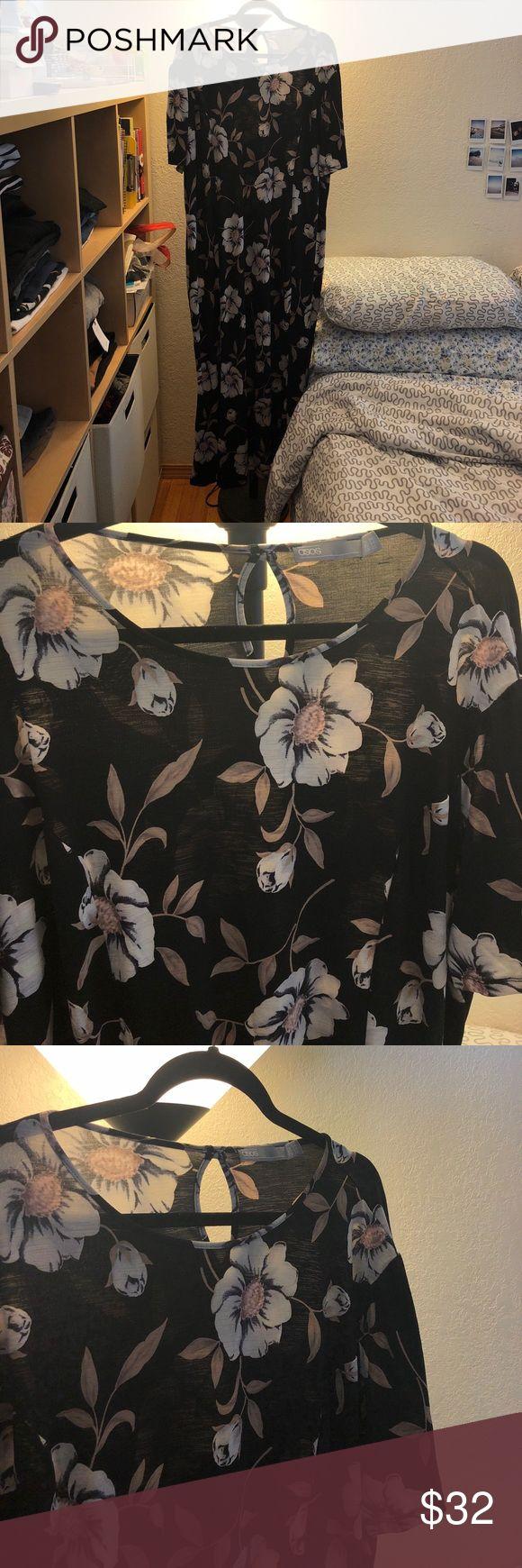 ASOS Curve Maxi Tea Dress In Large Flower Print Worn 2-3 times. Excellent condition. SEND ME AN OFFER. 🙂 ASOS Curve Dresses Maxi