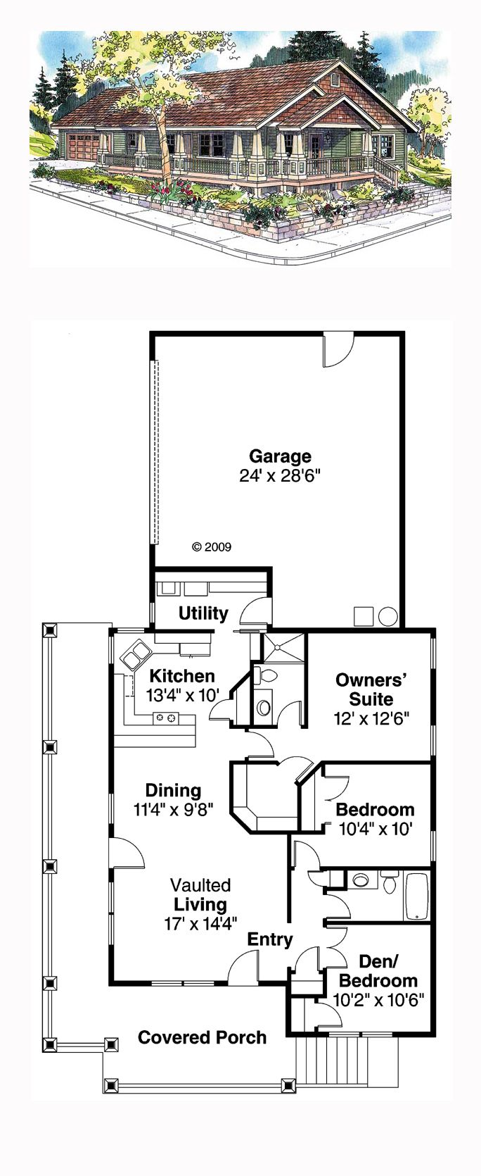Ranch House Plan 59754 | Total Living Area: 1265 sq. ft., 3 bedrooms and 2 bathrooms. #ranchhome