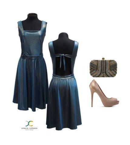 Vestido licra azul petróleo y lurex Marca Ximena Collazos
