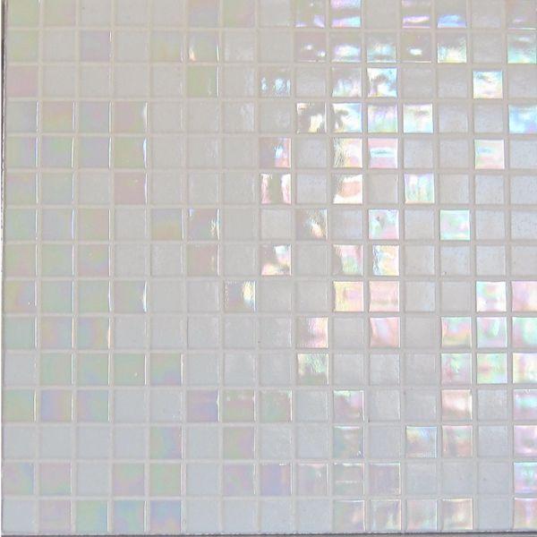 mosaique blanc nacré salle de bains | Mosaïque Salle de Bain en Pâtes de verre Blanc & Blanc nacré