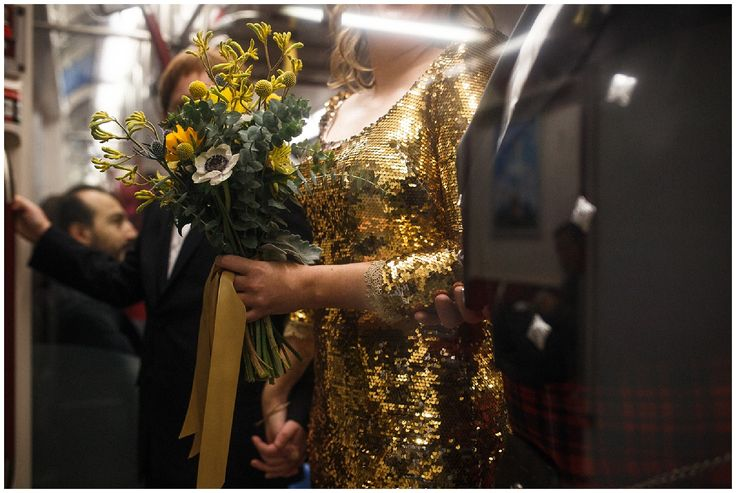 The lovely Meg carried her bouquet on the Toronto subway on the way to her wedding, wearing her gold sequined dress! As featured on ISO:ALT blog wedding flowers by Periwinkle Flowers 2016,Danijela Pruginic,Danijela Weddings,Gardiner Mueum,Meg & Sam,Shangri La Hotel,wedding,