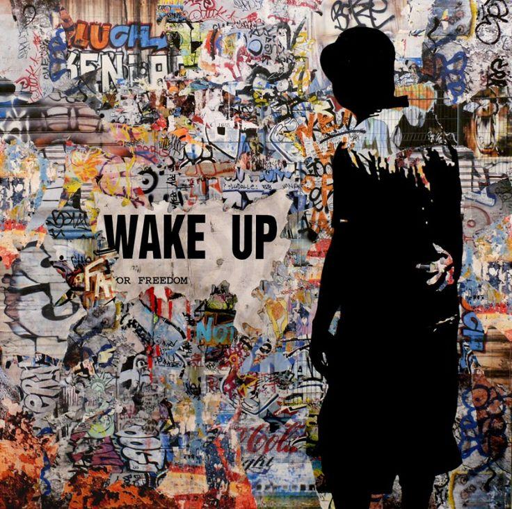 Wake up for Freedom 02 - Peinture, 100x2x100 cm ©2014 par TEHOS - Documentaire, Autre, Politique, tehos, tehos painting, acrylic, collage on canvas, collage, pop art, street art, political vue, point of vue, freedom of speak, liberty