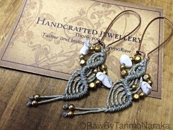 Macramé earrings , micromacrame, boho jewelry, ethnic  earrings, gift for her, personalized jewelry, elven, gypsy earrings, dangle earrings