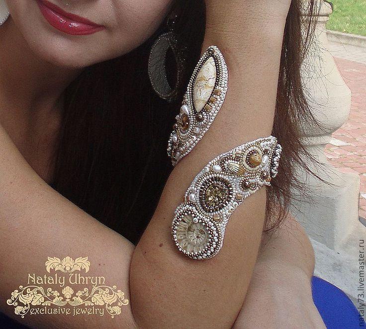 """Купить браслет+кольцо """"Золотые пески"""" - браслет, кольцо, авторская работа, браслет-змейка, витый браслет"""