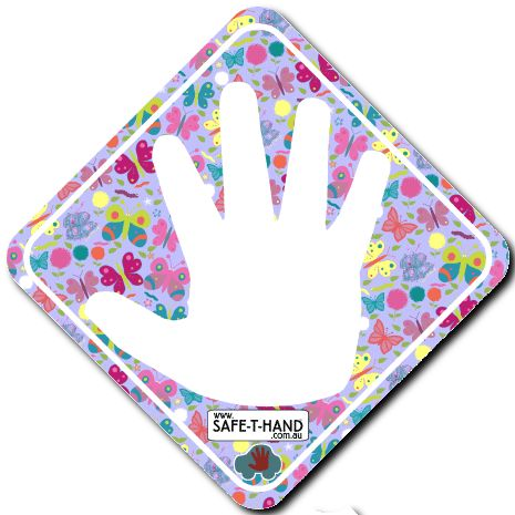 BUTTERFLIES Safe-T-Hand Mini Car Magnet.  Safe-T-Hand Mini's are compactly sized at 12cm x 12cm. They fit into your pocket, handbag and glove box - GRAB & GO! They arrive in cardboard Travel Wallets (14cm x 12.5cm) for flat, clean storage when not in use (e.g. when washing the car). All instructions and a visual aid are printed inside. #teach #road #safety #safethandmini #educate #fun