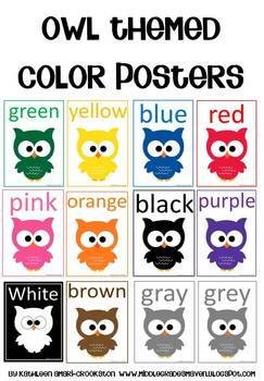 """Owl Themed Color Posters from the Owl Themed Classroom Set*Note: The white owl has a black background*Please rate me :)*Remember to """"follow"""" me for updates on my new items!The graphics used in this item are copyrighted and may not be used for your own commercial projects or given away to anyone else."""