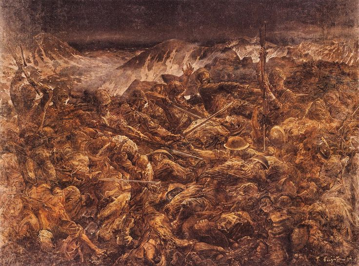 "The Battle of Attu ""Final Banzai Charge against the Americans on Attu Island."" Painting by Tsuguharu Fujita 1943"
