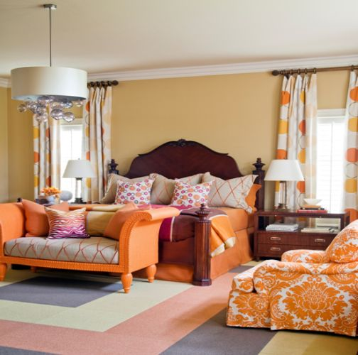 many elements to love the happy colors gorgeous bed amazing patterns on the orange bedroomsorange bedroom wallsbedroom - Orange Color Bedroom Walls