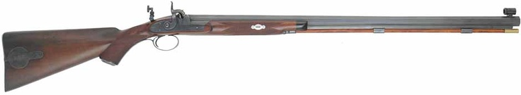 """English Sporting Rifle,  .45 caliber fast twist, 30"""" swamped octagon barrel,checkered walnut, traditional iron trim,globe & peep sight, R. E. Davis bar lock, by B. A. Dawson. Wanted to show the peep sight on this one. According to physics, if you look at anything through a tiny pin hole it will always be in focus. Some smart people back in the day!"""
