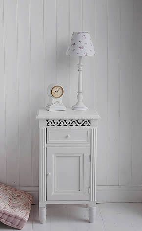 A white bedside cabinet with drawer from The White Lighthouse