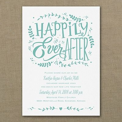 Making the fairy-tale romance official? Send this 'Happily Ever After' wedding invitation and ask guests to join in the celebration.
